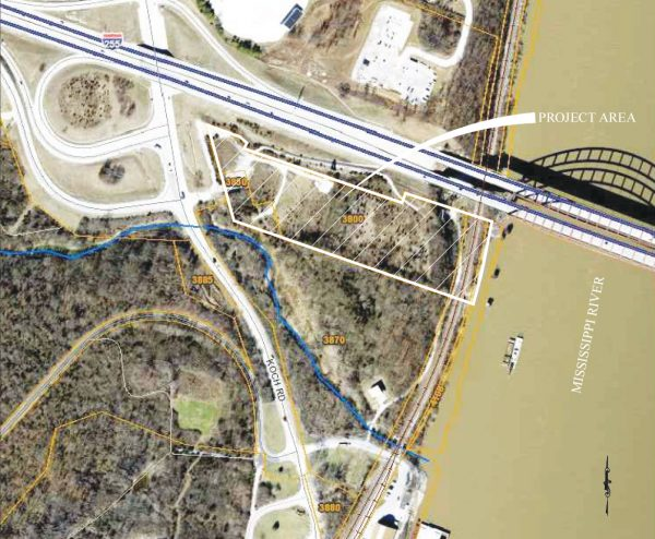 Plans for the new gas station, above, show the site directly next to the JB Bridge crossing into Missouri from Illinois.