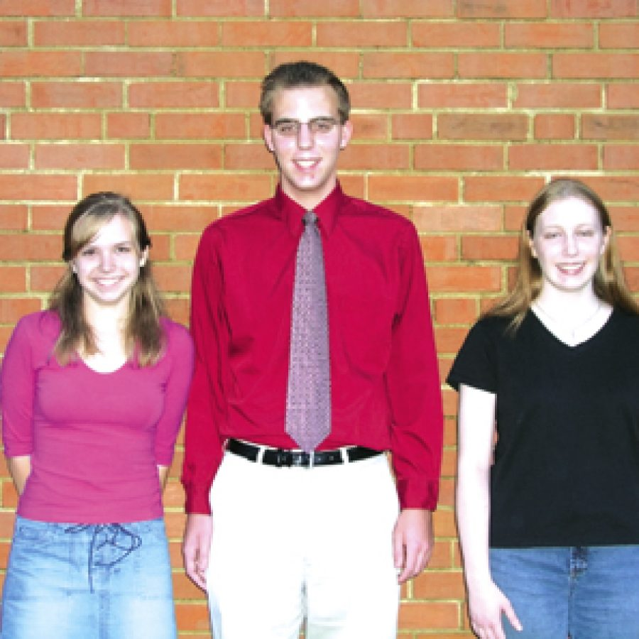 Local high school students, from left, Katherine Huffman, Michael Wacker and Michelle Patz are semifinalists in the 51st annual National Merit Scholarship Program.