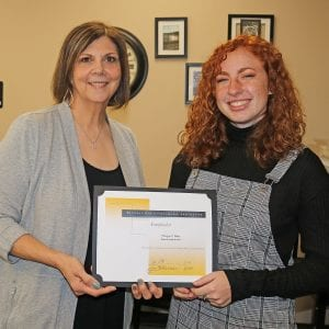 Oakville High senior Morgan Allen, right, with Oakville Principal Jan Kellerman.