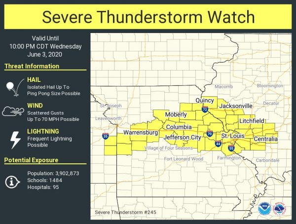 Severe thunderstorm watch issued for St. Louis, with 70 mph wind and hail possible