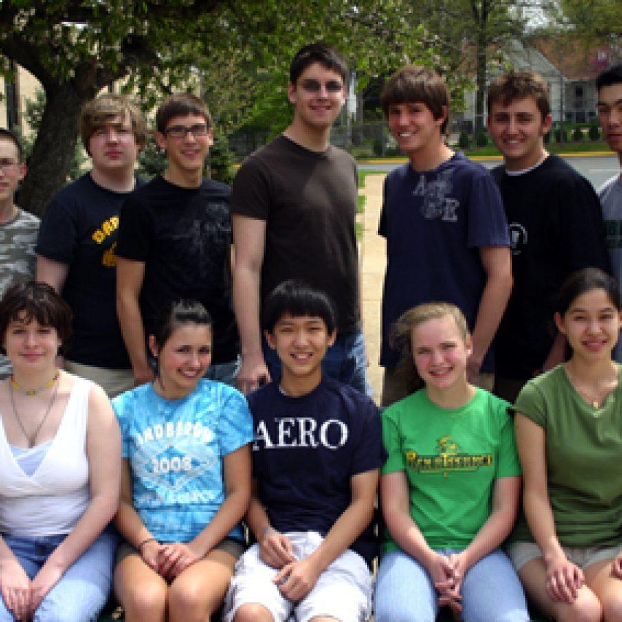 Lindbergh National Merit Scholarship Program qualifiers, front row, from left, are: Miriam Murray, Aida Vajzovic, Max Fei, Kathryn Hagerty and Audrey Dang. Back row, from left, are: Byron Coffey, Ben Wagnon, Collin Luebbert, Keegan Barrett, Stephen Czaicki, Michael Vangel and Justin Helbert.