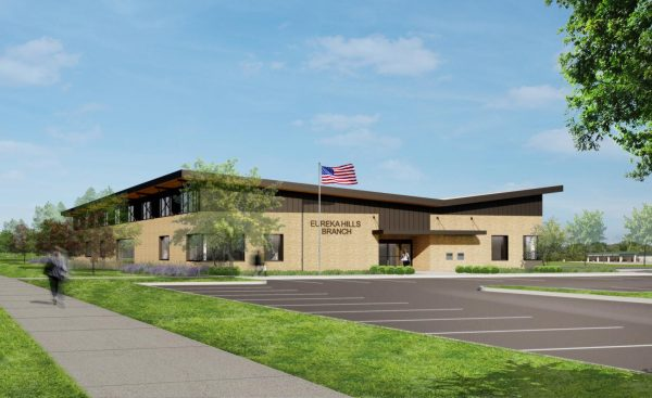 A rendering of the St. Louis County Library's new Eureka Hills Branch.