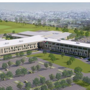 An aerial rendering of the new Lindbergh High School, facing Lindbergh Boulevard.