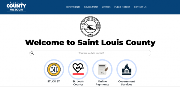A screenshot of the new St. Louis County website as it appears at stlouisco.com Thursday, Sept. 3, 2020.