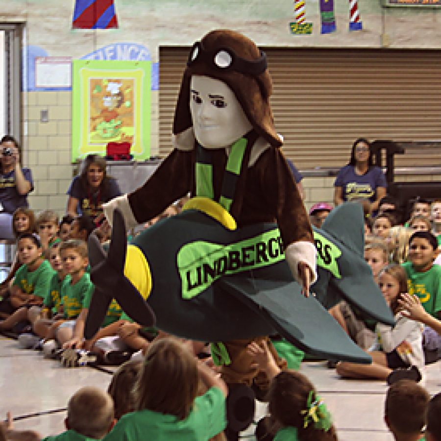 Students cheered and gave high fives as Lindbergh's new mascot, Lucky Lindy, flew through the Kennerly Elementary School gym Aug. 19.