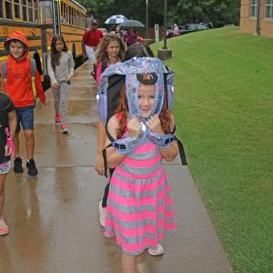 A rainy day greeted students for their first day of elementary school in 2018 at Oakville Elementary.