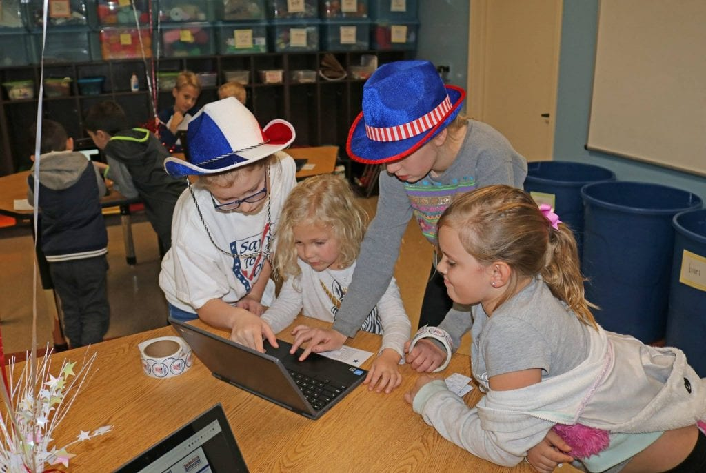 Students at Oakville Elementary participate in 'Kids Voting' for the November 2018 election.