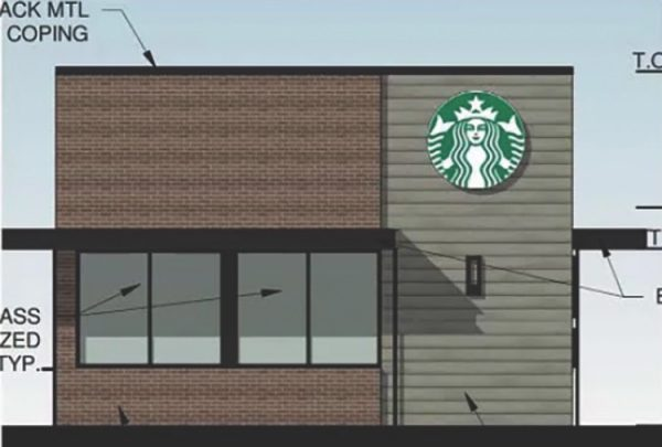 A rendering of the proposed Oakville Starbucks, which would be drive-thru only.