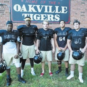 The Oakville High School varsity football team was victorious Friday night, defeating Seckman 28-7. The Tigers, now 3-5 on the season, will host 1-7 Mehlville Friday night. Photo by Bill Milligan.