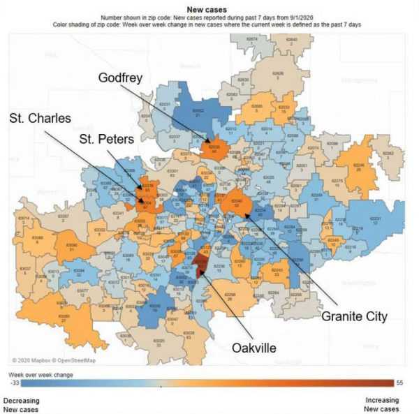 The St. Louis Metropolitan Pandemic Task Force presented this slide Sept. 9, 2020, showing Oakville with the most cases of any other ZIP code in the 15-county region.