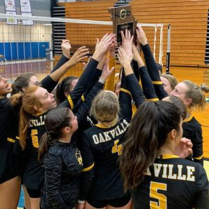 The 2019 Oakville Tigers volleyball team celebrates winning the district championship Wednesday in House Springs.