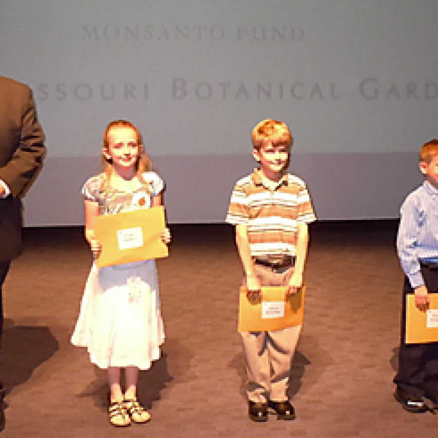 Grace Embry, Adam Koetting and Henry McIntyre of Our Lady of Providence School in Sappington won the digital category for their PowerPoint presentation on sassafras featuring hand-drawn artwork of trees and leaves in the Missouri Botanical Garden's \