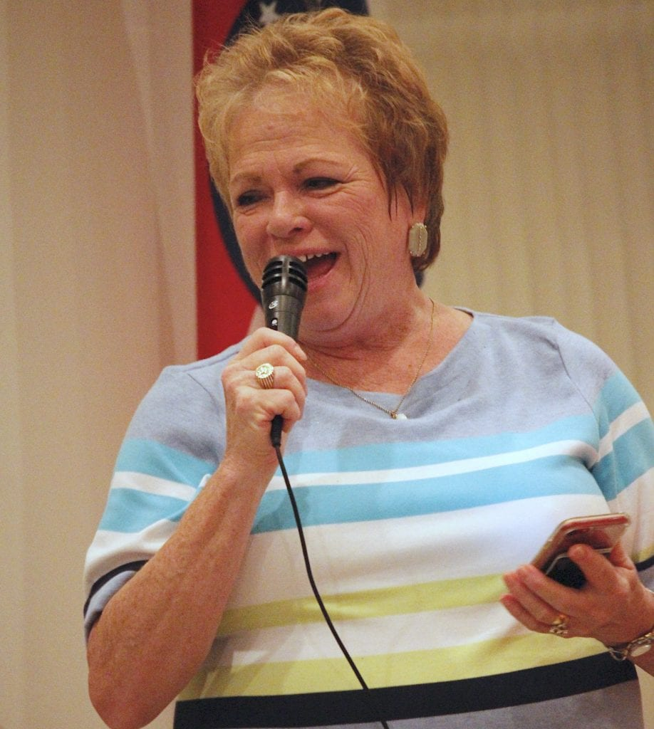 Jean Pretto speaks at the Oakville Democrats ODO Fest in October 2018. Photo by Erin Achenbach.