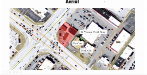 The Planning Commission showed this aerial view of the proposed site at the corner of South Lindbergh Boulevard and Lemay Ferry Road at the commission's March 8 meeting.