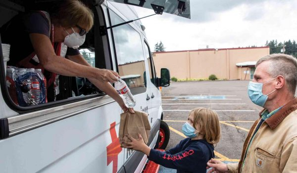 The Red Cross provided meals for families affected by the wildfires in Oregon in 2020.