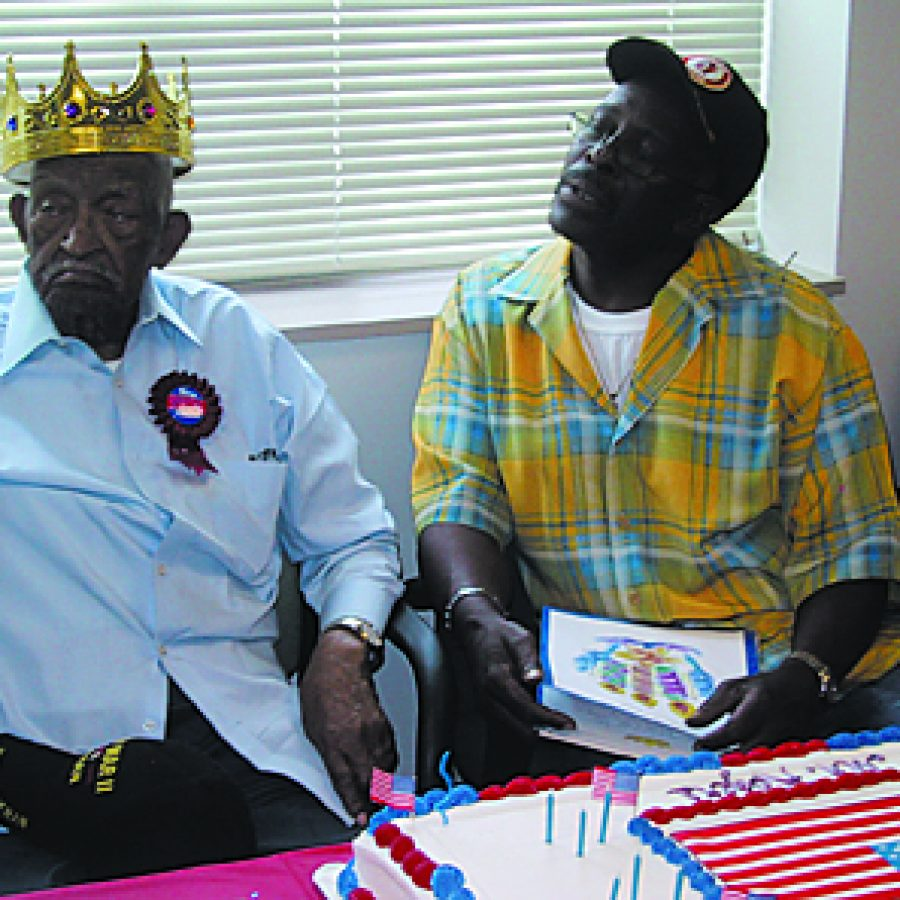 James A. Rogers is shown with his son Charles at his 100th birthday celebration on June 19 at the St. Louis VA Medical Center at Jefferson Barracks. Maggie Menderski photo