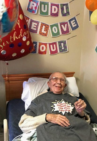 Rudi Heider celebrates his 107th birthday and his successful recovery in beating COVID-19.