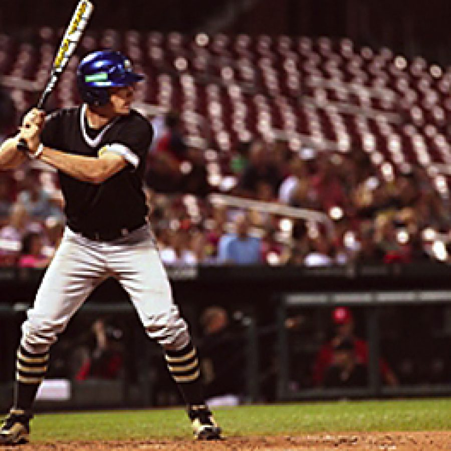 Shortstop Ryan Simmons of Oakville High School steps up to the plate during Delta Dentals SmilesLEAGUE Coaches Choice All-Star Baseball Game on June 27 at Busch Stadium.