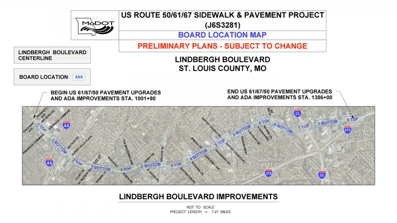 An overview from the Missouri Department of Transportation showing the improvements it plans along seven miles of South Lindbergh Boulevard, from Kirkwood to South County Center.