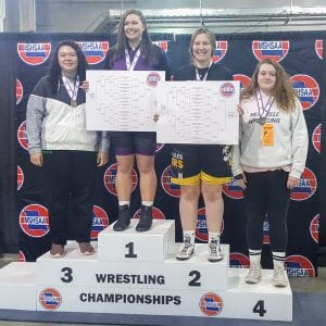 Pictured above: Samantha Apple takes 4th place at the state wrestling tournament.