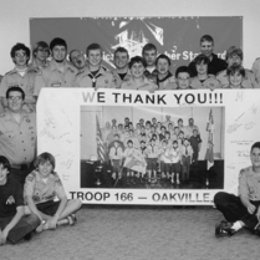 These Boy Scouts appreciate the local support that allowed them to collect enough donations to send 185 holiday gift bags to troops overseas and another 40 gift bags to orphaned Iraqi children.
