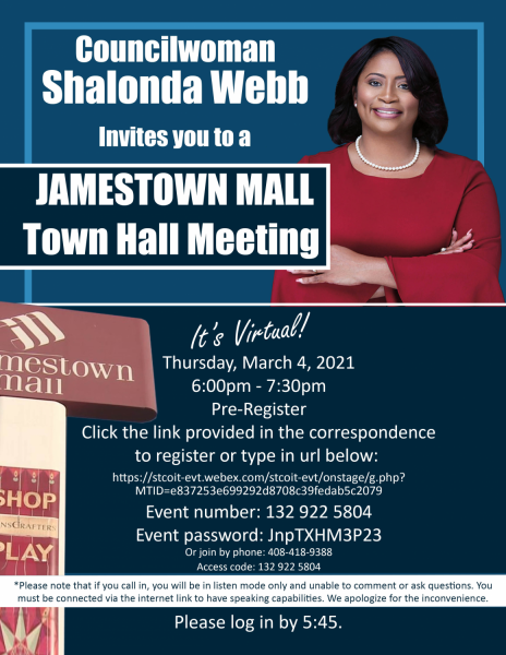 Town hall on Jamestown Mall set for tonight