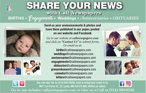 Share your news with The Call: engagements, weddings, anniversaries, births, obituaries