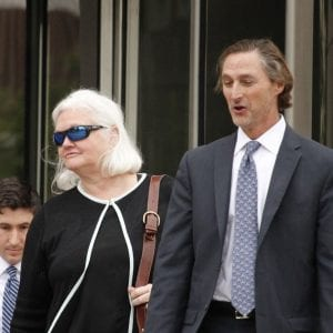 Former Economic Development Partnership CEO Sheila Sweeney, left, and her attorney William Margulis leave the Thomas F. Eagleton United States Courthouse Friday. Photo by Erin Achenbach.
