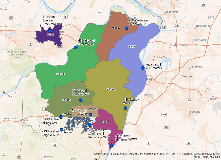 This image released by the state shows testing locations throughout St. Louis County.