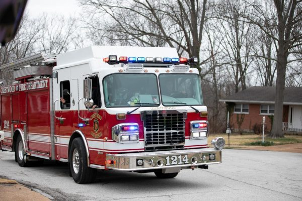 Crestwood firetrucks and emergency vehicles led the three-block parade route.