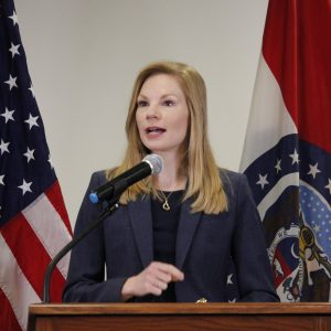 Missouri State Auditor Nicole Galloway announces that she will perform an audit of St. Louis County at the St. Louis County Library headquarters May 15, after the County Council voted unanimously to approve an audit May 7. Former County Executive Steve Stenger requested an audit of the county two years ago, but then-council Chairman Sam Page, now the county executive, declined. Photo by Erin Achenbach.