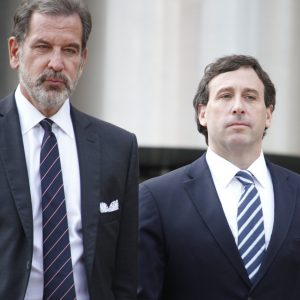 Steve Stenger, right, and his lawyer Scott Rosenblum leave the Thomas F. Eagleton Courthouse in downtown St. Louis following Stenger's sentencing Friday, Aug. 9. Stenger was sentenced to 46 months in prison and will report Sept. 21. Photo by Erin Achenbach.