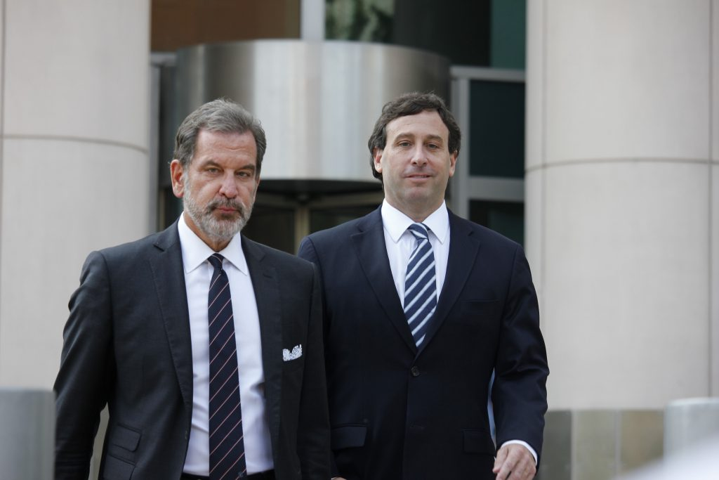 Steve+Stenger%2C+right%2C+and+his+lawyer+Scott+Rosenblum+leave+the+Thomas+F.+Eagleton+Courthouse+in+downtown+St.+Louis+following+Stenger%27s+sentencing+Friday%2C+Aug.+9.+Stenger+was+sentenced+to+46+months+in+prison+and+will+report+Sept.+21.+Photo+by+Erin+Achenbach.+