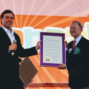 Then-County Executive Steve Stenger presents a proclamation declaring