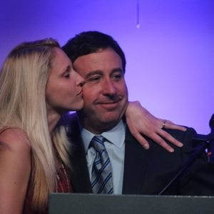 Pictured above: County Executive Steve Stenger and his wife, Allison, at his victory party in August 2018. Photo by Jessica Belle Kramer.