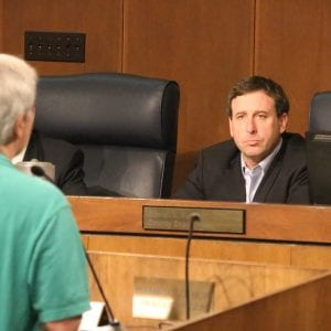 County Executive Steve Stenger listens to public comments at the Aug. 1 County Council meeting. Photo by Jessica Belle Kramer.