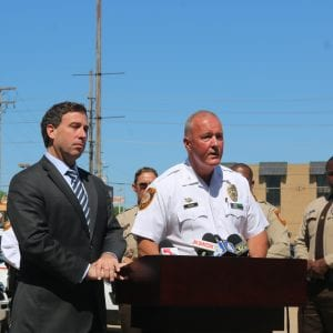 Steve Stenger and Jon Belmar answer questions about the new special response unit. Photo by Jessica Belle Kramer.