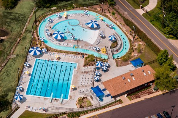 The Sunset Hills pool seen from above.