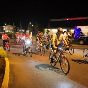 Participants in the Sunset Hills Bike Cruise enjoy the ride along historic Route 66 on Friday, Oct. 5. Mayor Pat Fribis said the first annual event was a great success. Photo by Gloria Lloyd.