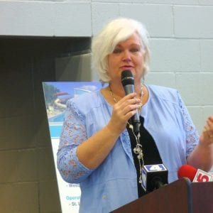 St. Louis Economic Development Partnership CEO Sheila Sweeney speaks at the June 16, 2015 ribbon-cutting ceremony of The Pavilion at Lemay, the recreation center and aquatic center that opened in Lemay with casino money.