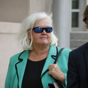 Pictured above: Former Economic Development Partnership CEO Sheila Sweeney, left, and her attorney William Margulis leave the Thomas F. Eagleton United States Courthouse Friday. Photo by Erin Achenbach.