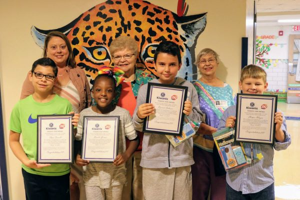 The Beasley Terrific Kids in October 2019. Pictured, from left, are: Front row: Chase Carroll, Brielle Grimes, Dzevad Subasic and Harper Wayne. Second row: Beasley Elementary Principal Andrea Deane, Kiwanian Pauline Roth and Kiwanian Carla Rowell.