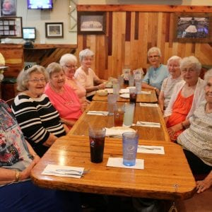 Left row, from front to back: Joann Behm, Margaret Baumgartner, Betty Huegerich, Theresa Fuytinck and Tillie Rehagan; right row, from front to back: Maryann Highland, Dorothy Siebert, Margaret Kamper and Barbara Muich gathered for lunch last month at Cafe Telegraph to celebrate 65 years togerther. Photo by Jessica Belle Kramer.