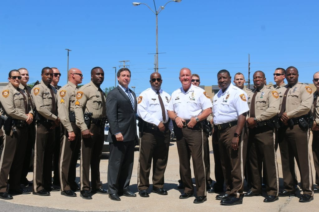 The+newly+instated+special+response+unit+poses+for+a+photo-op+with+County+Executive+Steve+Stenger+and+Police+Chief+Colonel+Jon+Belmar.