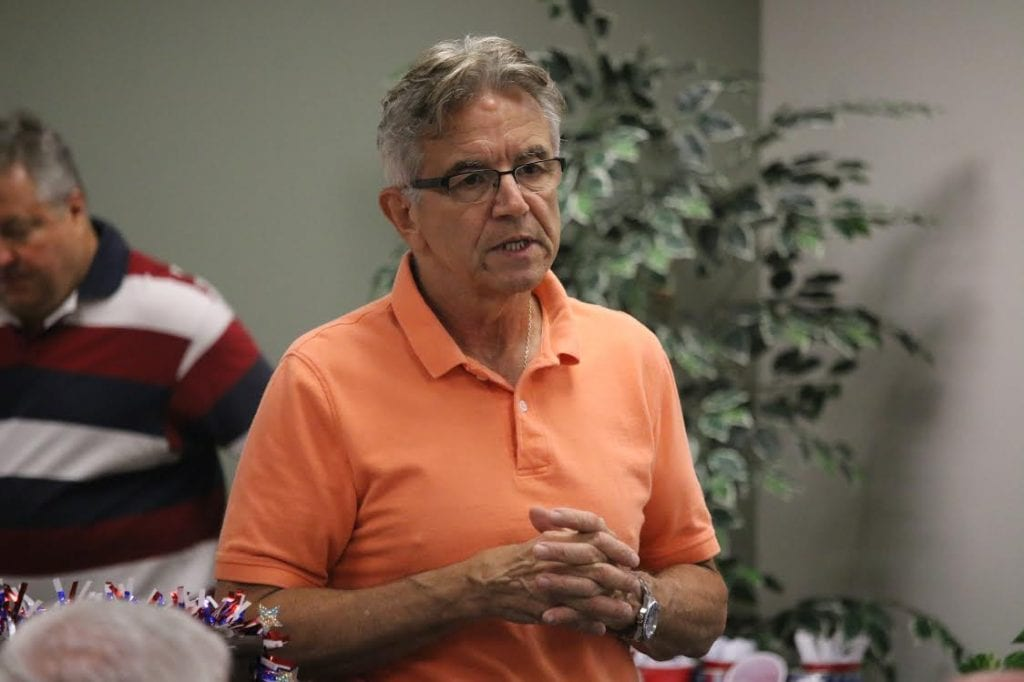 Ernie Trakas talks at the Concord-Lemay/Gravois/Jefferson Republican Club meeting. Photo by Jessica Belle Kramer.