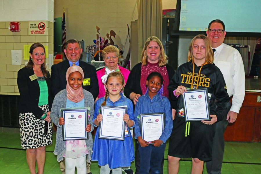 Trautwein Terrific Kids April 2018: Pictured front row, from left, are: Ayaan Mohamed Hussein, Nejla Omerspahic, Nia Phillips and Lizi Reehten.    Back row, left to right, are: Trautwein Principal Shannon Henderson, Kiwanian Ron Rammaha, Kiwanian Pauline Roth, Trautwein Assistant Principal Julie Durham and Kiwanian Roy Wunsch.