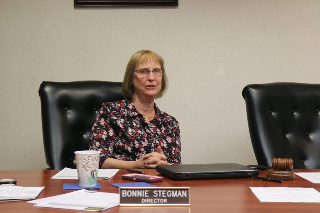 Mehlville+Fire+Protection+District+Board+of+Directors+Treasurer+Bonnie+Stegman+speaks+during+a+meeting+in+summer+2018.+Photo+by+Jessica+Belle+Kramer.