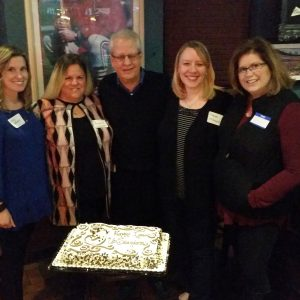 The Upstanders co-founders (from left to right) Erica Hoffman, Andrea Soaib, Robert Vogel, Renee McDonnell and Lisa Huffman celebrate the group's one-year anniversary in February at Helen Fitzgerald's.