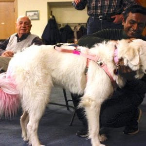 Xena greets guests at Southminster Presbyterian Church following Kramme's presentation. Photo by Erin Achenbach.