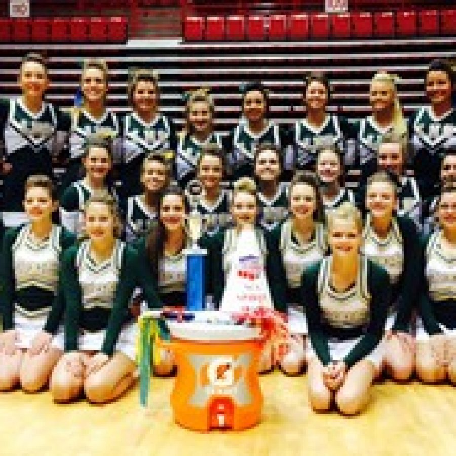 The Lindbergh High School varsity cheerleading squad earned the Spirit and Top Team awards at the National Cheerleaders Association Camp June in Cape Girardeau.